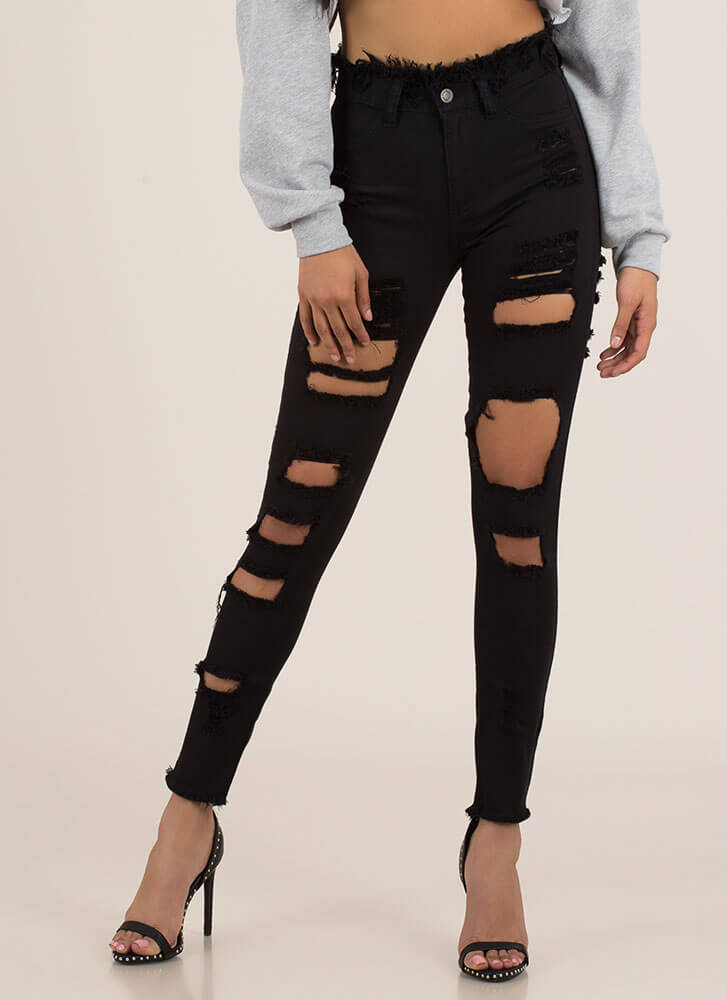 Outside The Box Fringed Cut-Out Jeans BLACK