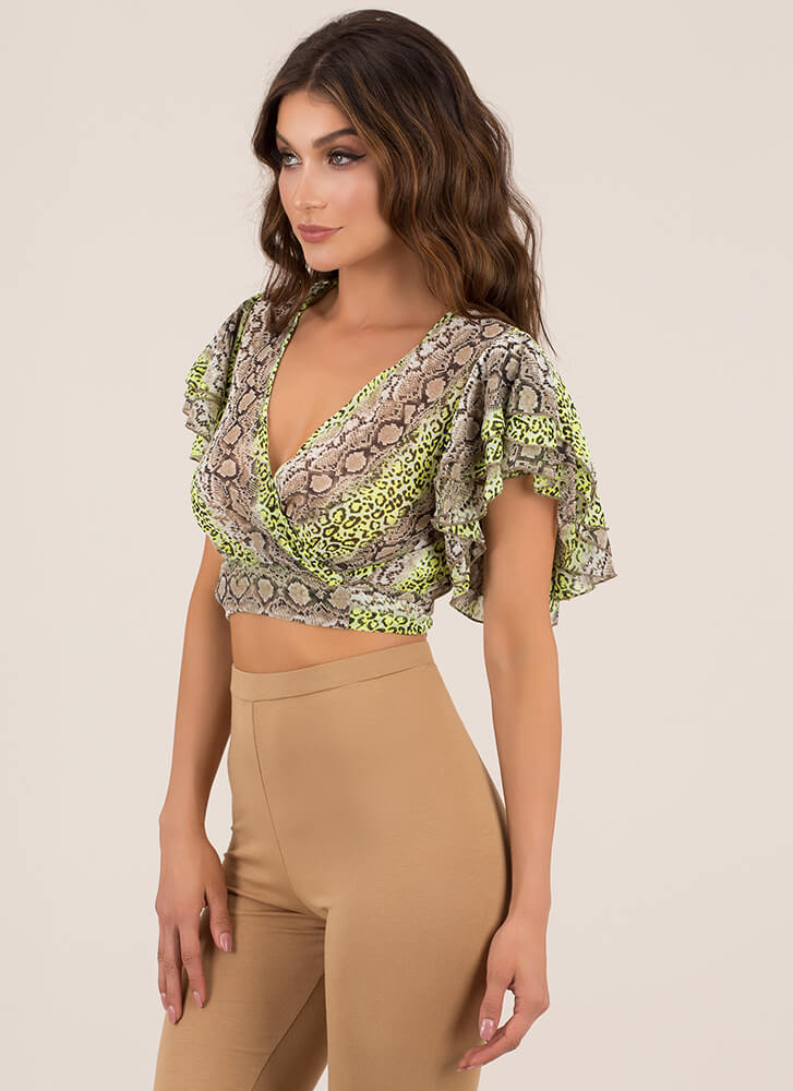 Wild Animal Ruffled Wrapped Crop Top NEONGREEN (Final Sale)