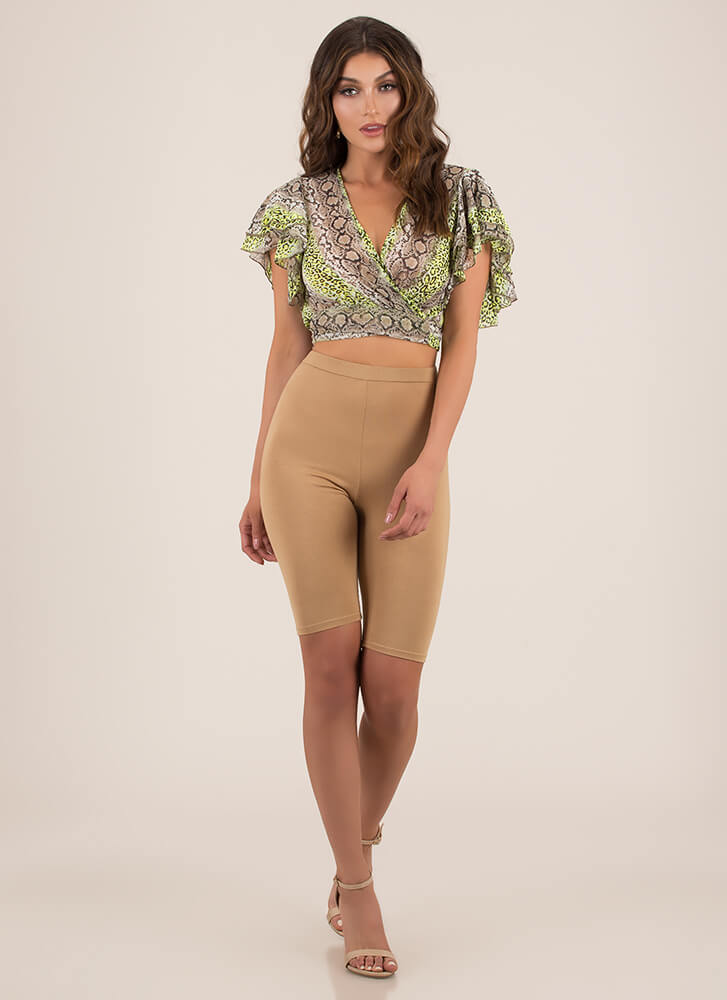 Wild Animal Ruffled Wrapped Crop Top NEONGREEN