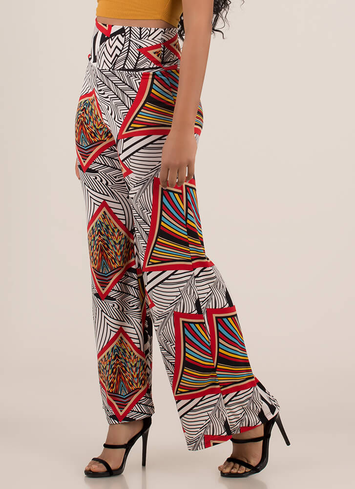 Abstract Idea Scarf Print Palazzo Pants BLACKMULTI