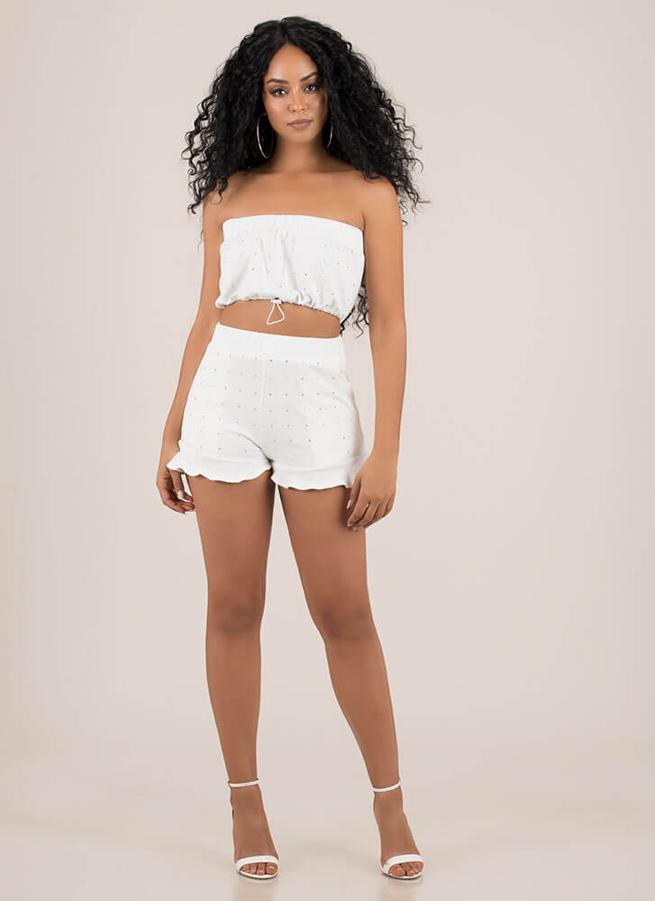 Sparkly Baby Tube Top And Shorts Set WHITE