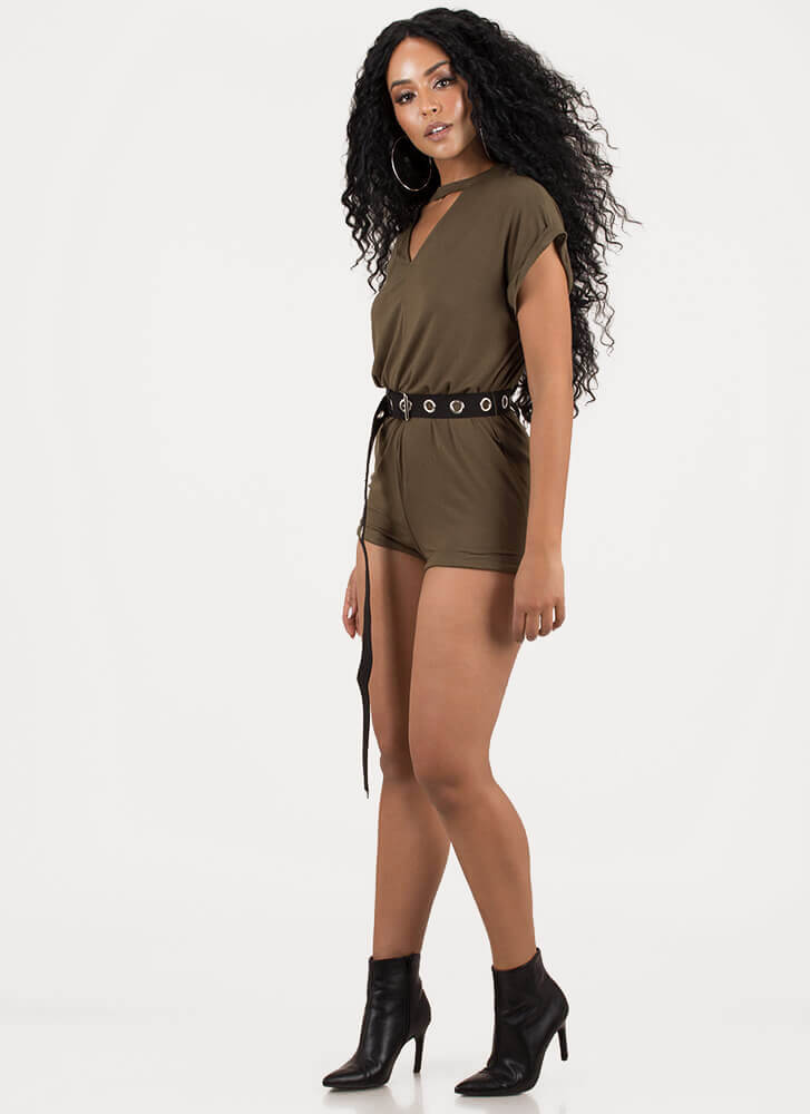 It's A Cinch Belted Cut-Out Romper OLIVE