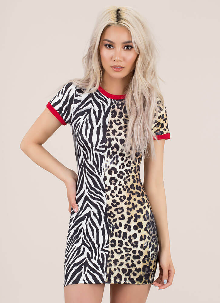 Half Leopard Animal Print Minidress MULTI