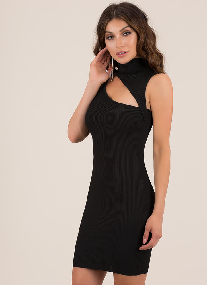 Sexy Sliver Cut-Out Turtleneck Minidress BLACK