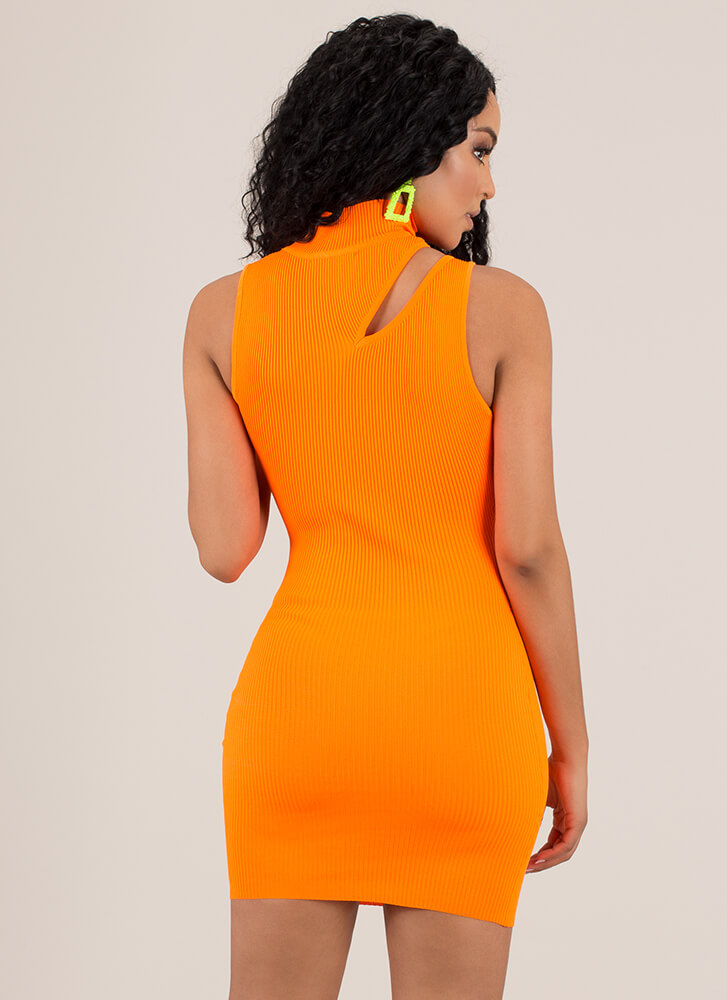 Sexy Sliver Cut-Out Turtleneck Minidress NEONORANGE