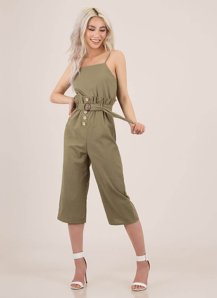 Separate Lives Belted Cropped Jumpsuit OLIVE (You Saved $14)