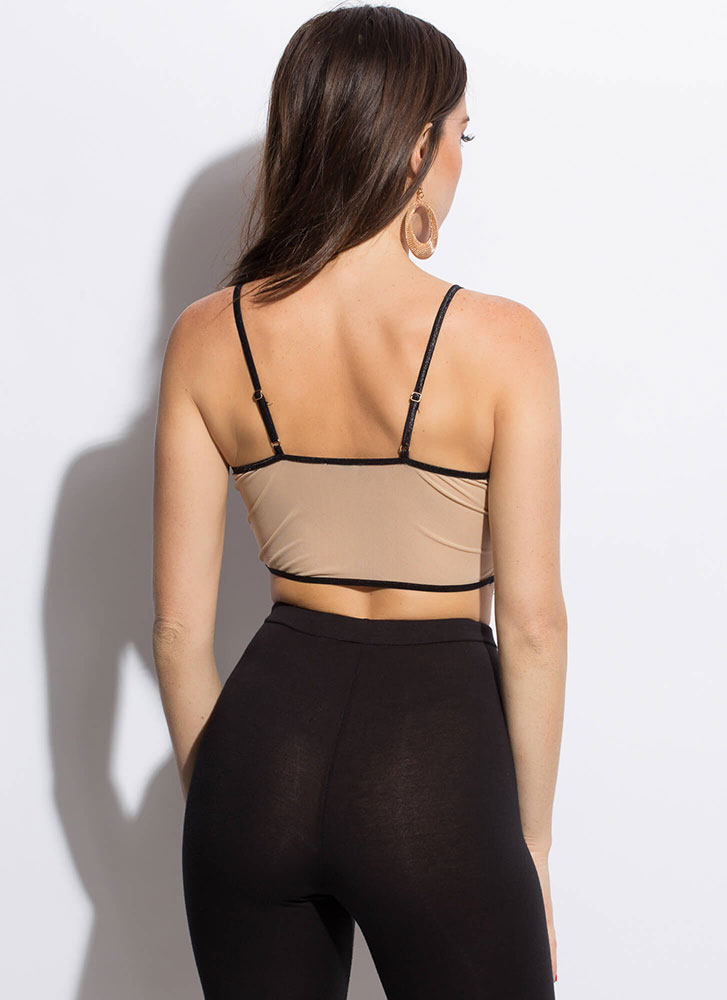 The Amazing Lace Bustier Crop Top BLACKNUDE