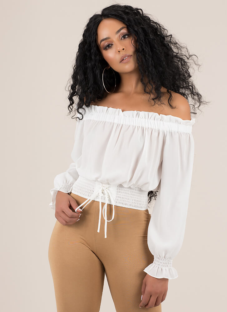 Frill Out Off-Shoulder Peasant Blouse WHITE