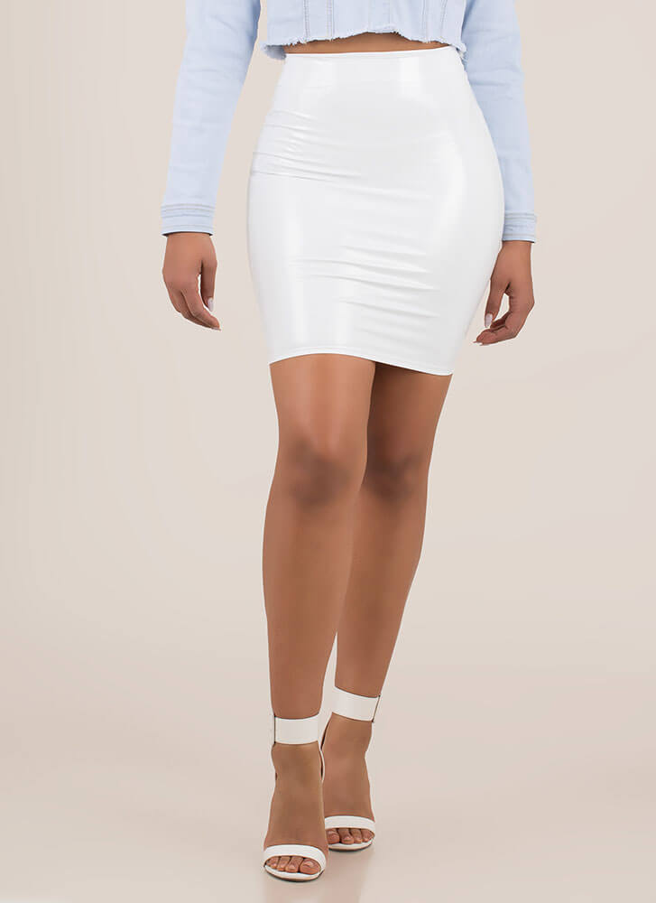 Give Me A Hug Faux Patent Skirt WHITE