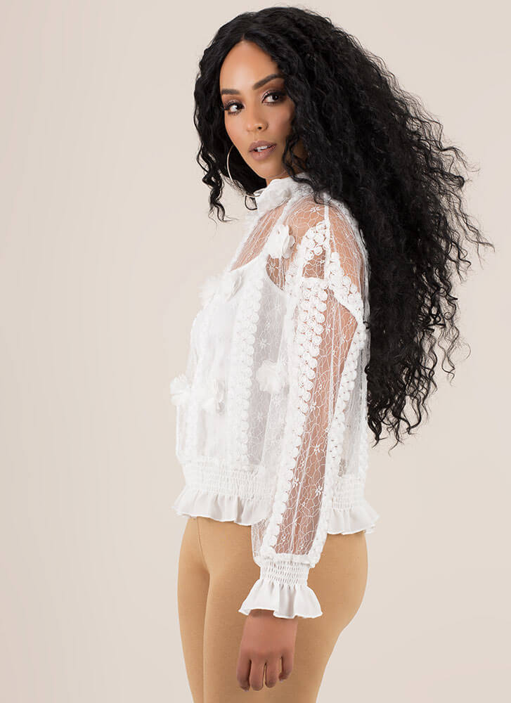 Trimmings Ruffled Floral Lace Blouse WHITE