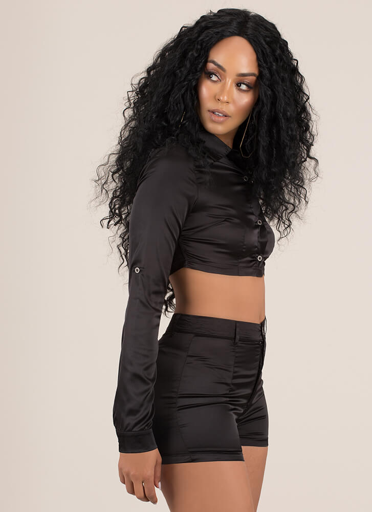 Say It In Satin Crop Top And Shorts Set  BLACK