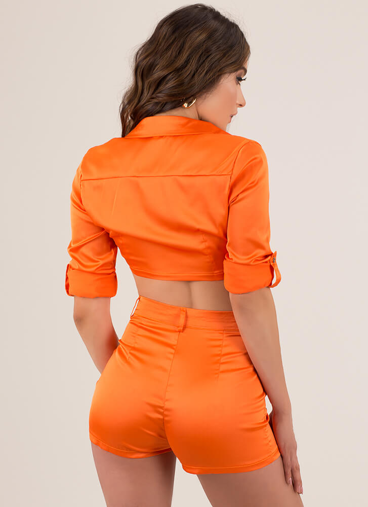 Say It In Satin Crop Top And Shorts Set  ORANGE