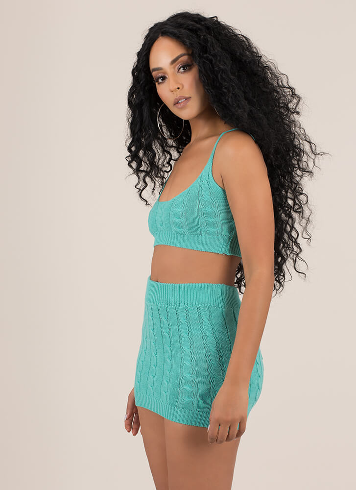 Knit's All About You Top And Skirt Set MINT (You Saved $25)
