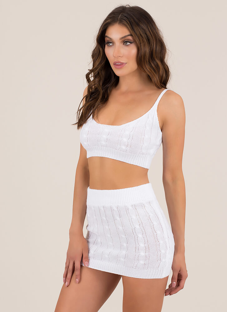 Knit's All About You Top And Skirt Set WHITE