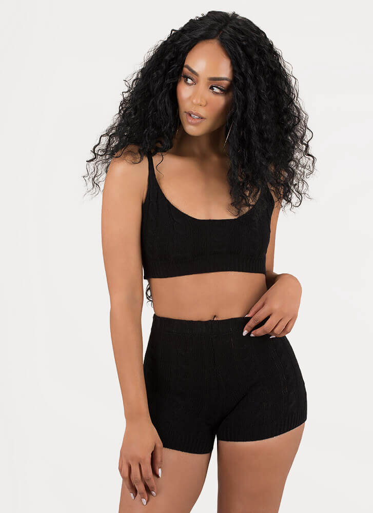 Knit's All About You Top And Shorts Set BLACK