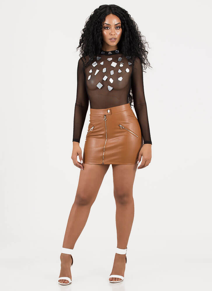Zip Line Faux Leather Moto Miniskirt COGNAC