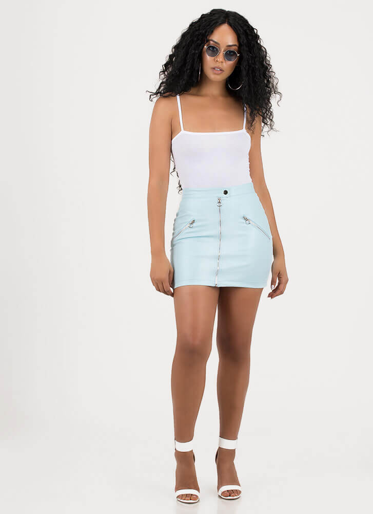 Zip Line Faux Leather Moto Miniskirt LTBLUE (You Saved $24)