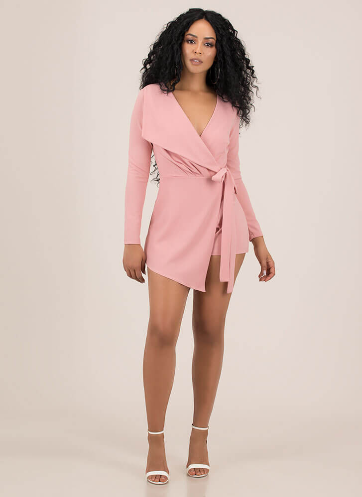 Wrapped And Tied With A Bow Romper BLUSH