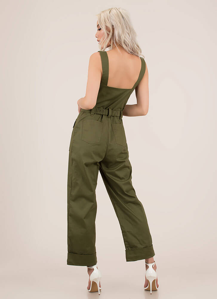 Cargo On The Go Wide-Leg Jumpsuit OLIVE