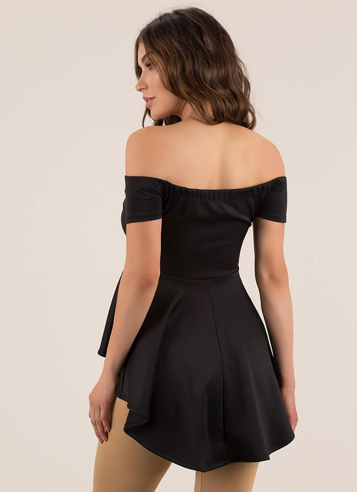 Perfect In Peplum Off-Shoulder Top BLACK