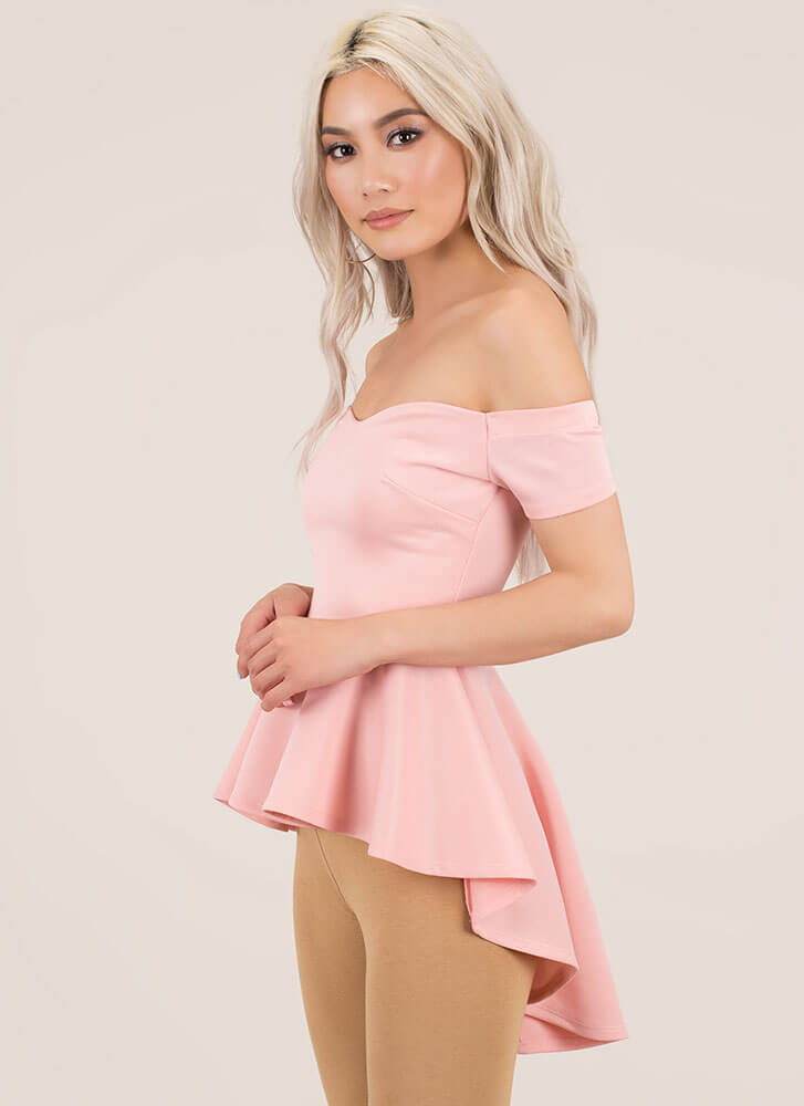 Perfect In Peplum Off-Shoulder Top BLUSH