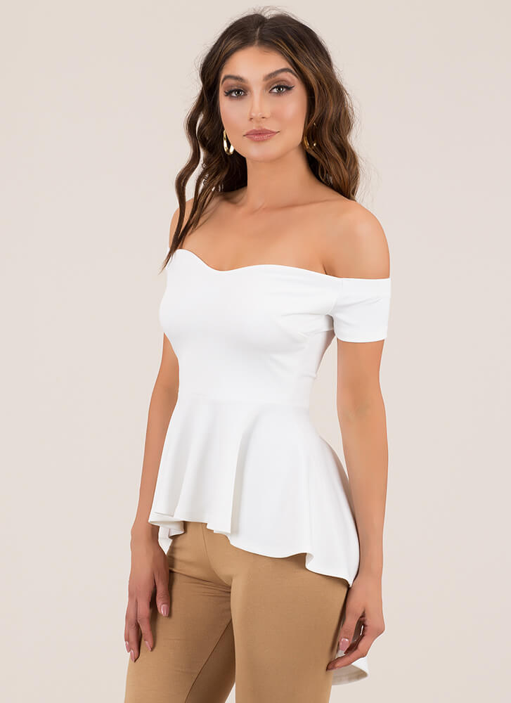 Perfect In Peplum Off-Shoulder Top IVORY