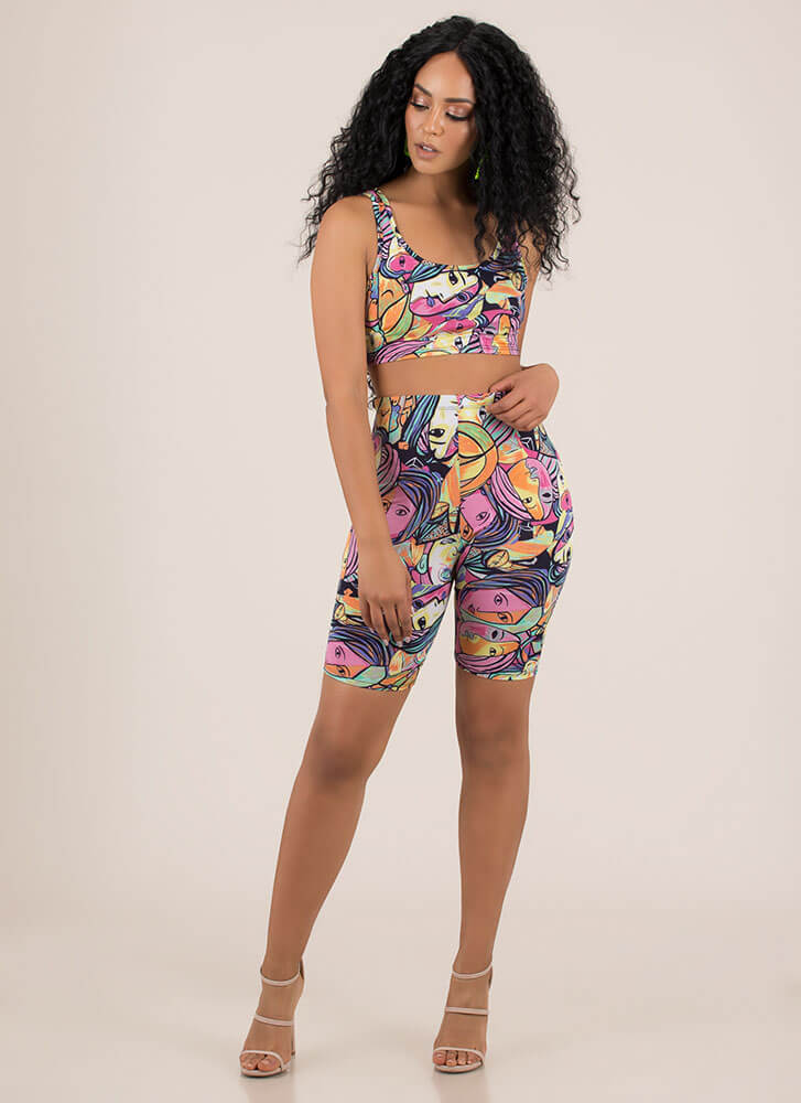 Two-Faced Portrait Print Two-Piece Set MULTI