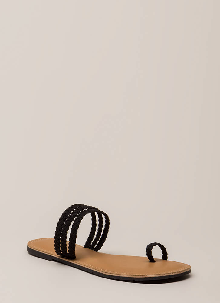 Toes Of The Town Strappy Braided Sandals BLACK