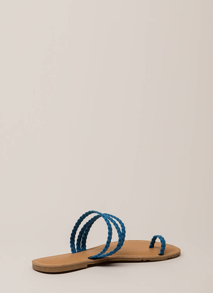 Toes Of The Town Strappy Braided Sandals BLUE