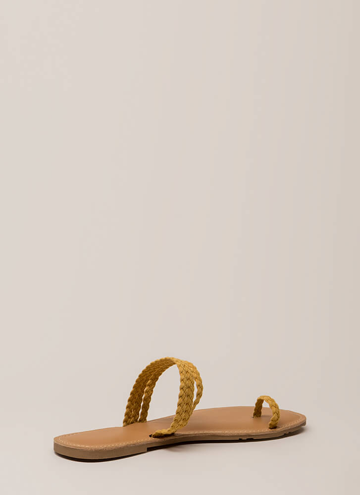 Toes Of The Town Strappy Braided Sandals MUSTARD