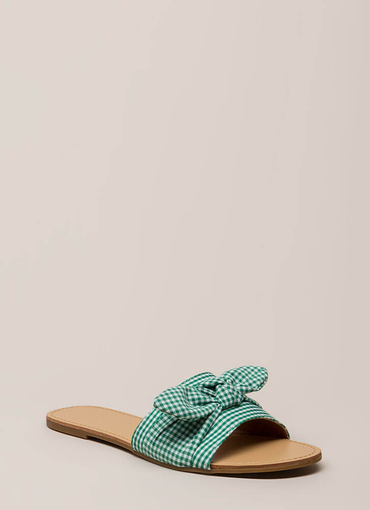 Knot Just For Picnics Gingham Sandals GREEN