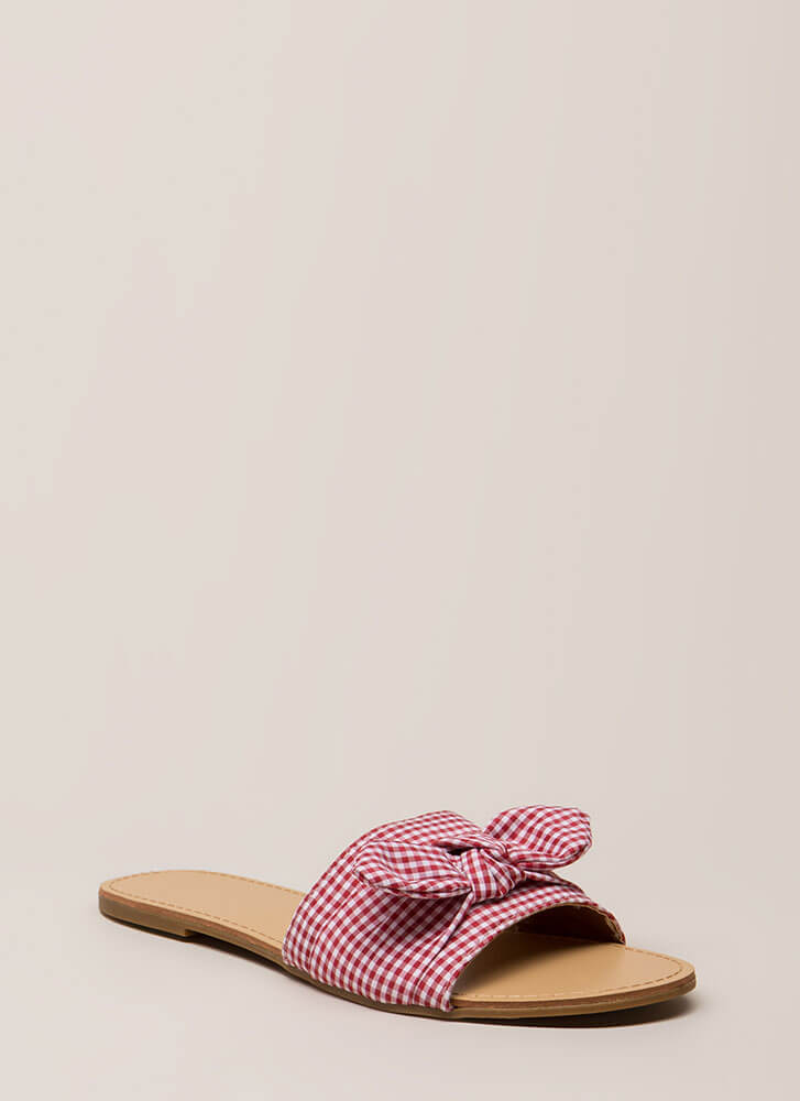 Knot Just For Picnics Gingham Sandals RED