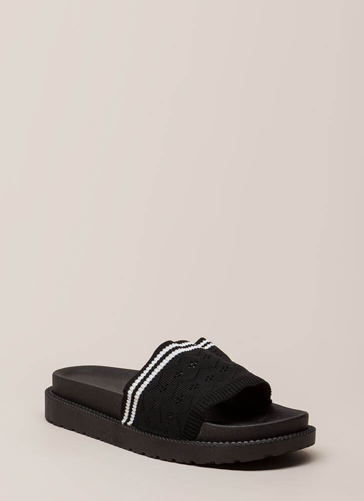 Socks Appeal Striped Knit Slide Sandals BLACK