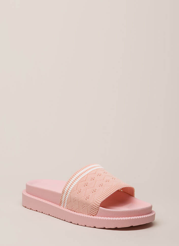 Socks Appeal Striped Knit Slide Sandals BLUSH