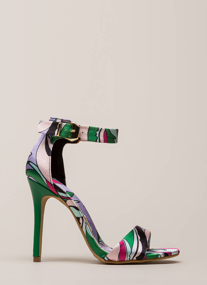 Tropical Time Satin Ankle Strap Heels GREEN