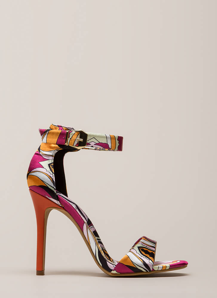Tropical Time Satin Ankle Strap Heels ORANGE (Final Sale)