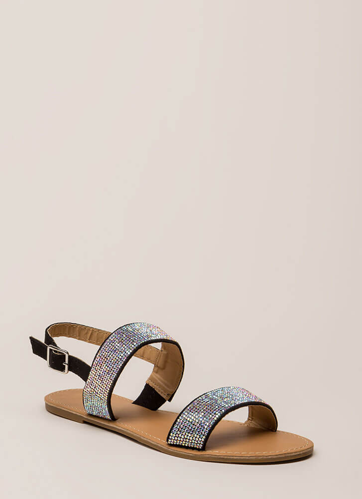 Full Of Sparkle Strappy Jeweled Sandals BLACK