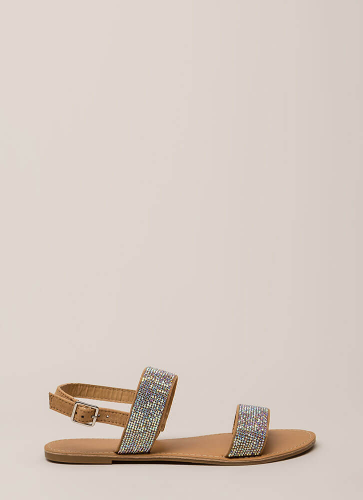 Full Of Sparkle Strappy Jeweled Sandals TAUPE