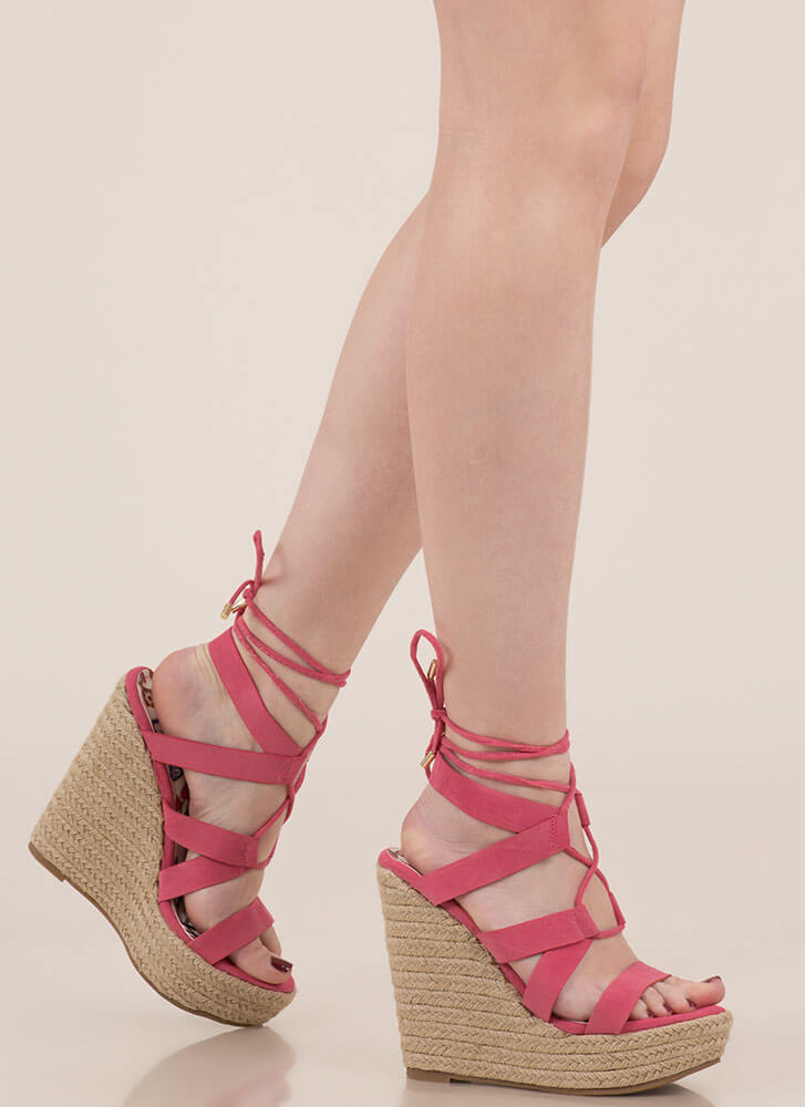Villa Babe Lace-Up Espadrille Wedges CORAL