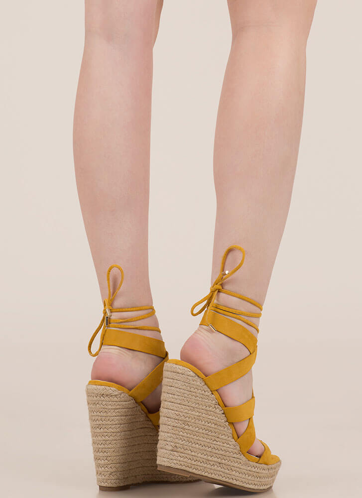 Villa Babe Lace-Up Espadrille Wedges YELLOW
