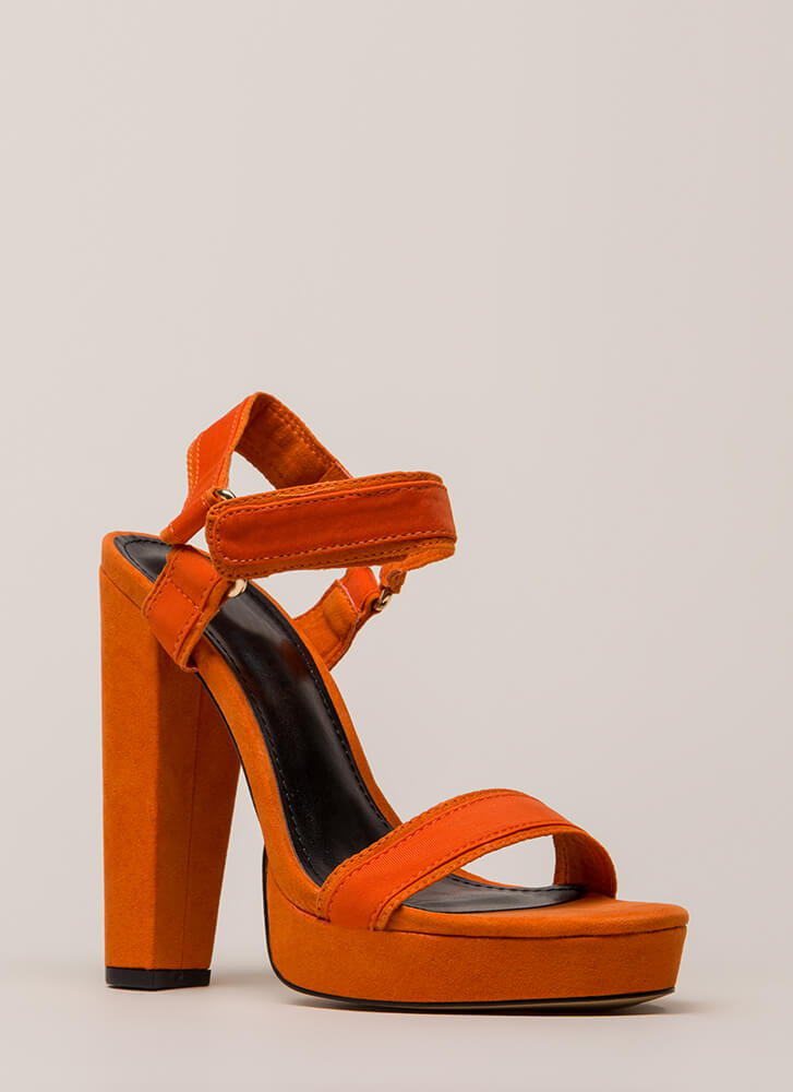 We're In A Band Chunky Platform Heels ORANGE (Final Sale)