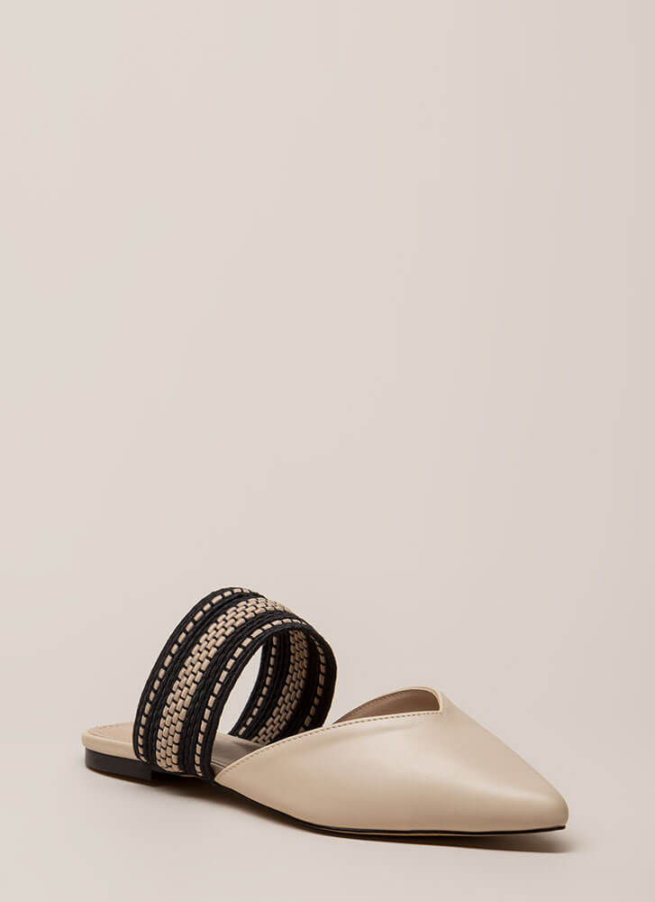Too Chic Pointy Woven Strap Mule Flats NUDE