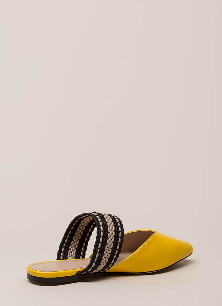Too Chic Pointy Woven Strap Mule Flats YELLOW