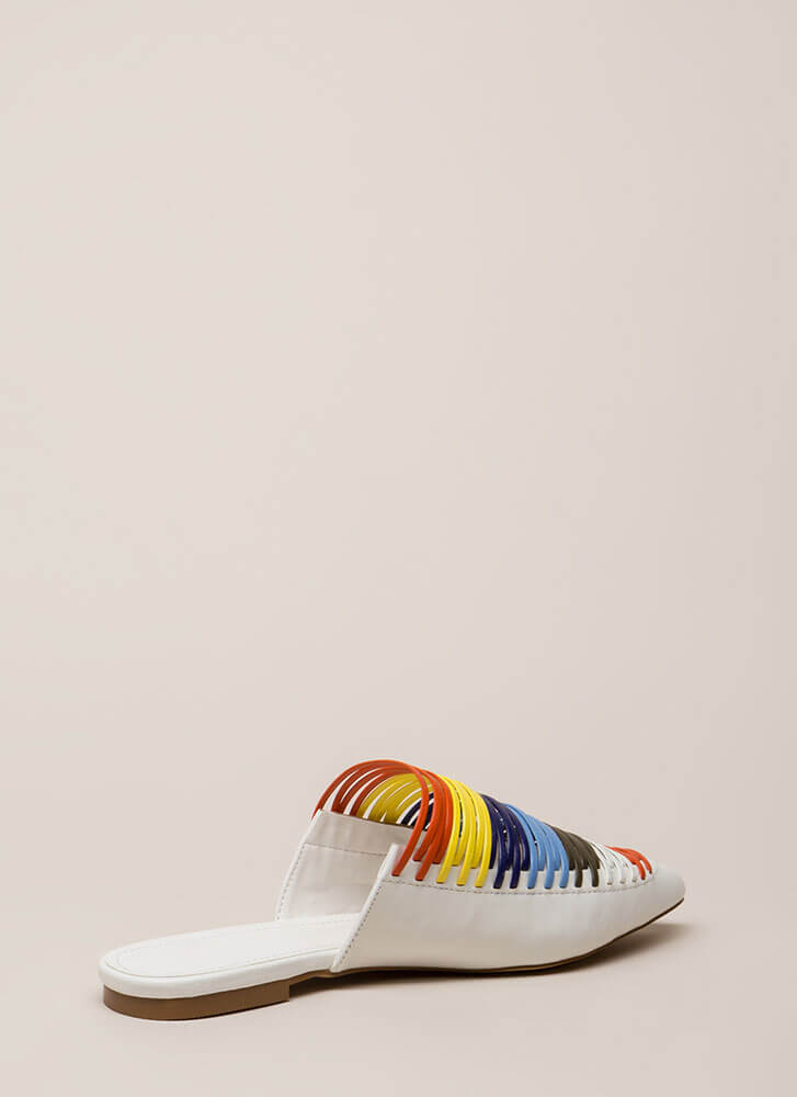 Cord-inate Pointy Strappy Mule Flats WHITE