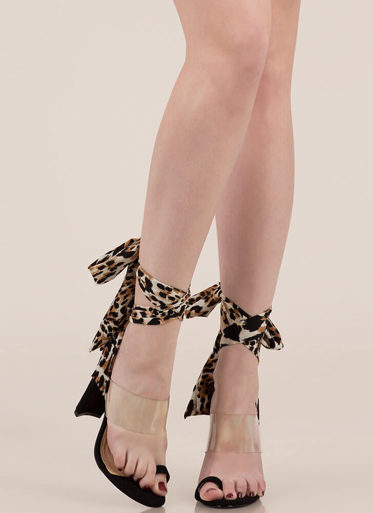 Sashay Clear Lace-Up Illusion Heels LEOPARD