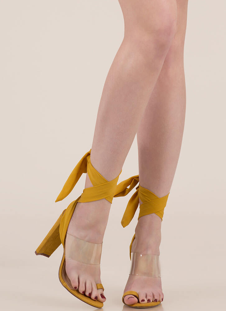 Sashay Clear Lace-Up Illusion Heels YELLOW