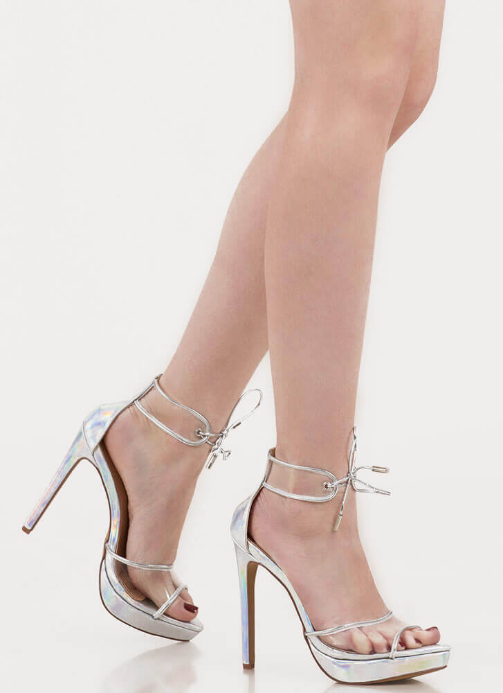 Clear Message Tied Peep-Toe Platforms HOLOGRAM