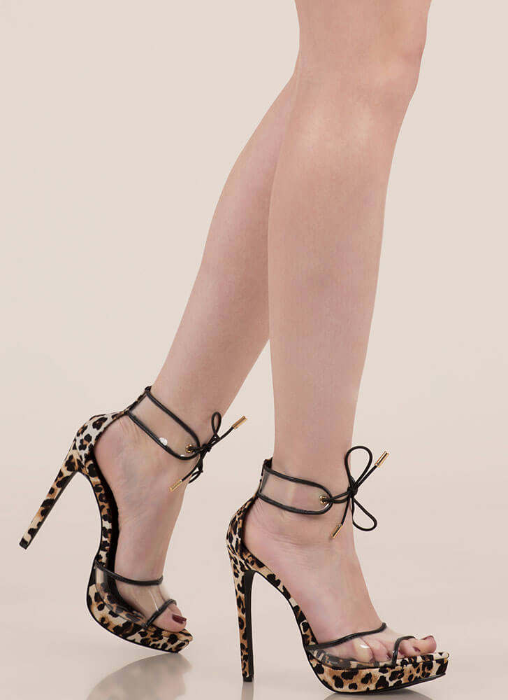 Clear Message Tied Peep-Toe Platforms LEOPARD