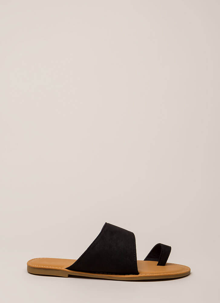 Sun's Out Toes Out Faux Suede Sandals BLACK