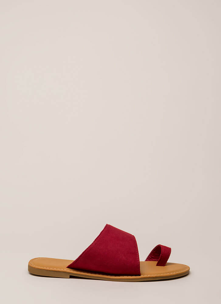 Sun's Out Toes Out Faux Suede Sandals RED